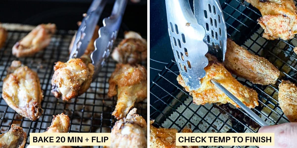 Side shot photo collage of tongs flipping baked chicken wings and checking the wing temperature.