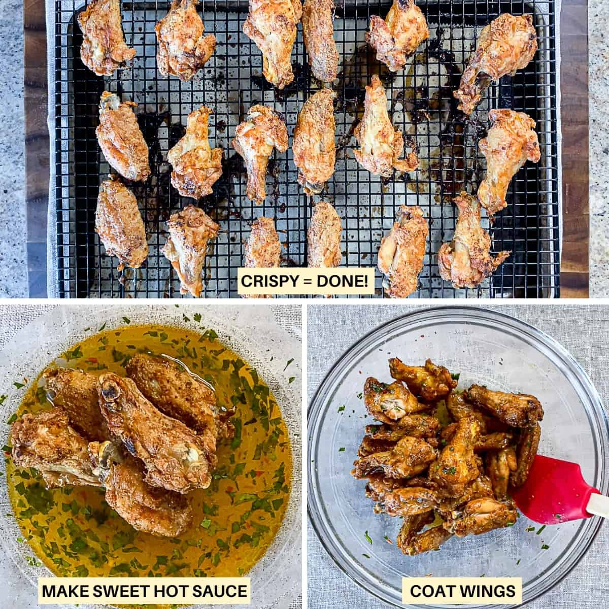 Image collage of steps for finishing crispy oven baked chicken wings with sweet hot sauce.