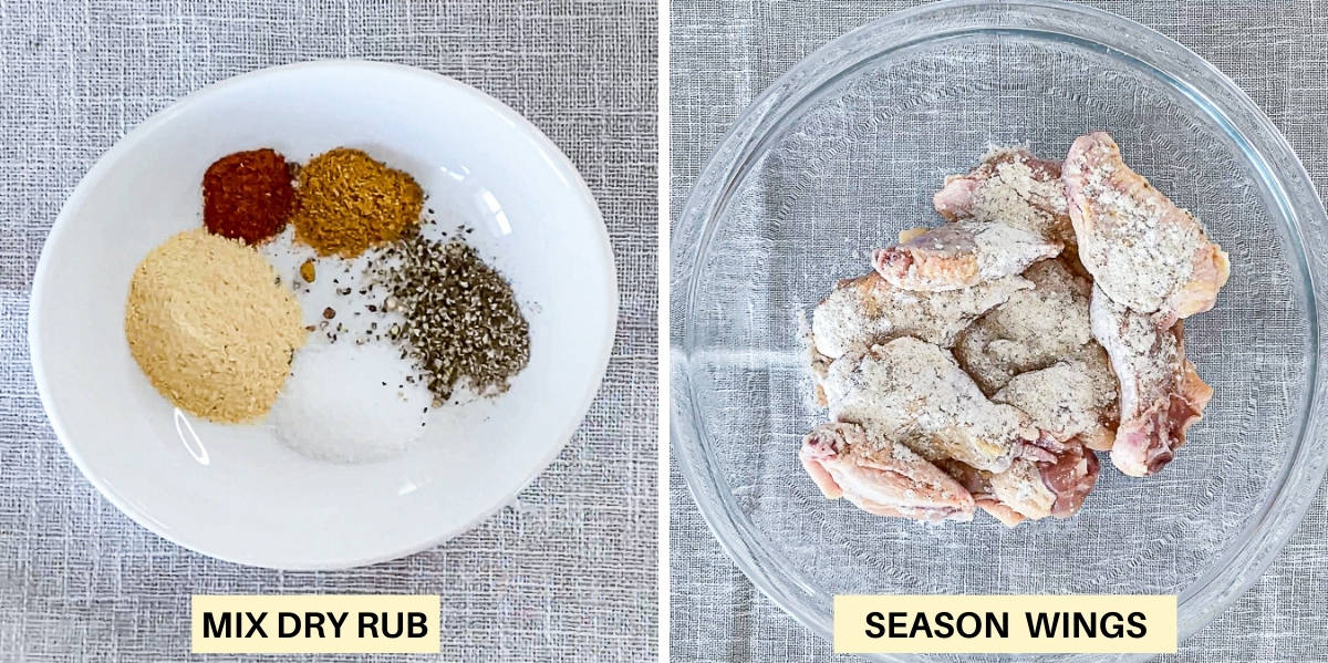 Top down collage photos of dry rub seasoning for wings.