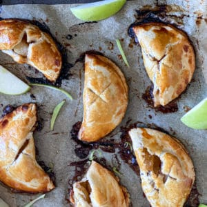 Top down shot of apple pie desserts recipe.