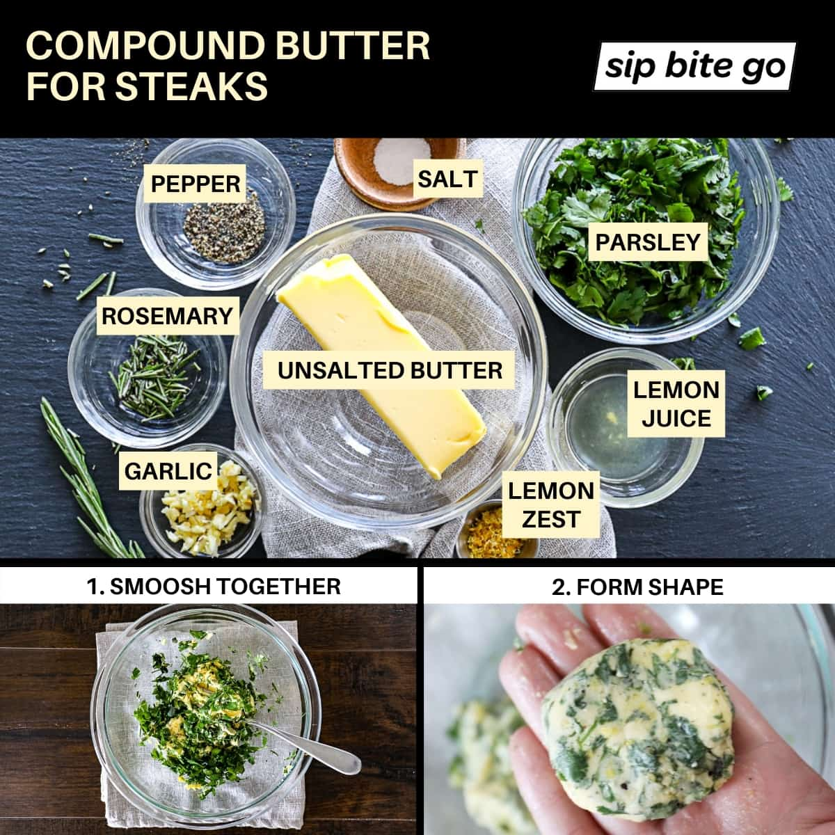 Diagram showing compound butter ingredients for steaks cooked in the air fryer with process shots of forming compound butter log patties.