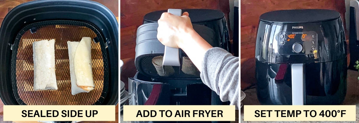 Side by side images demonstrating arranging air fryer frozen burritos and setting the air fry temperature.