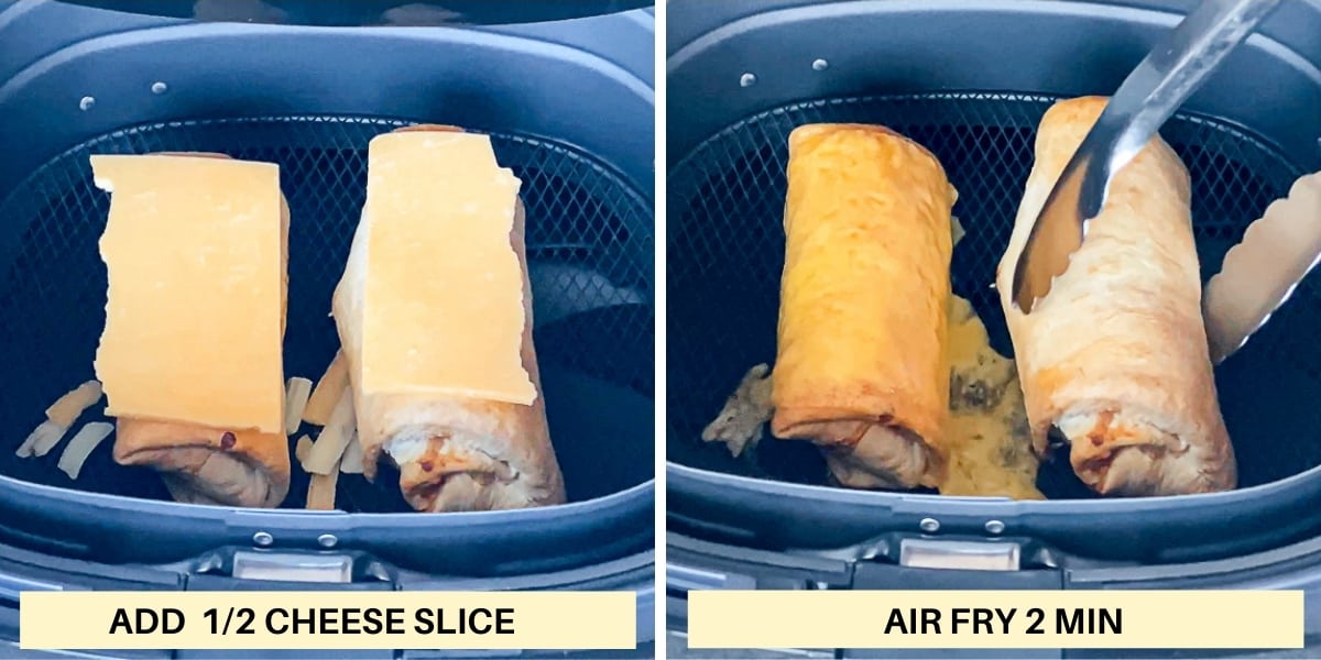 Side by side images demonstrating adding cheese to air fryer burritos and air frying frozen burritos.
