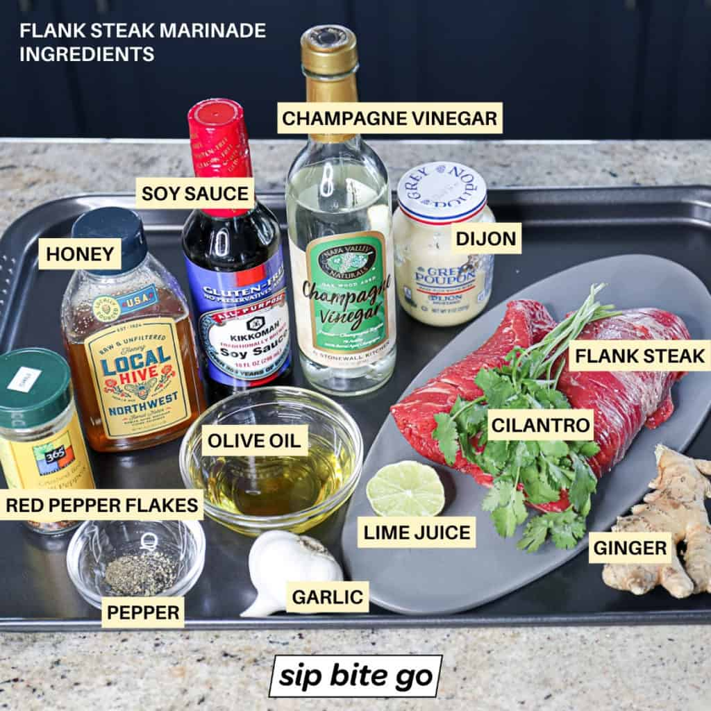 Side shot of ingredients for steak marinade with text descriptions.