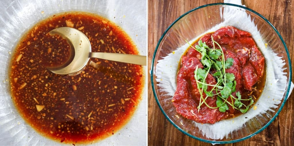 Images of steps to make marinade for flank steak.