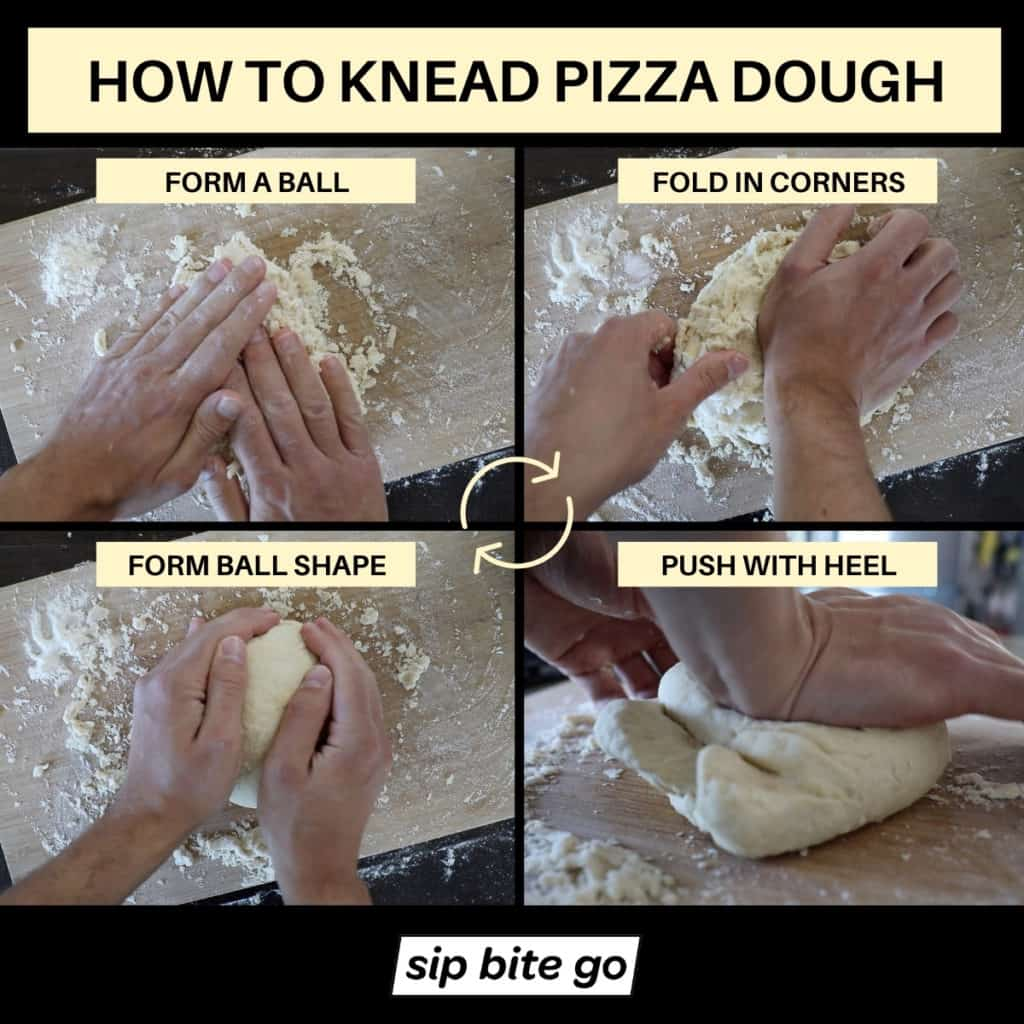 Infographic demonstrating how to knead pizza dough.