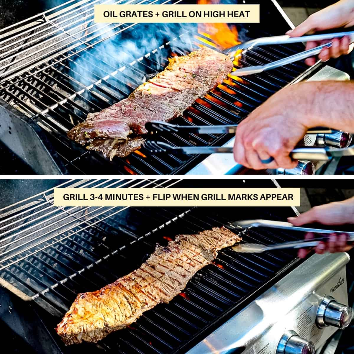 Image chart with text demonstrating how to grill marinated skirt steak on high heat.