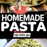 Homemade Pasta Recipe images with pasta machine and text overlay.