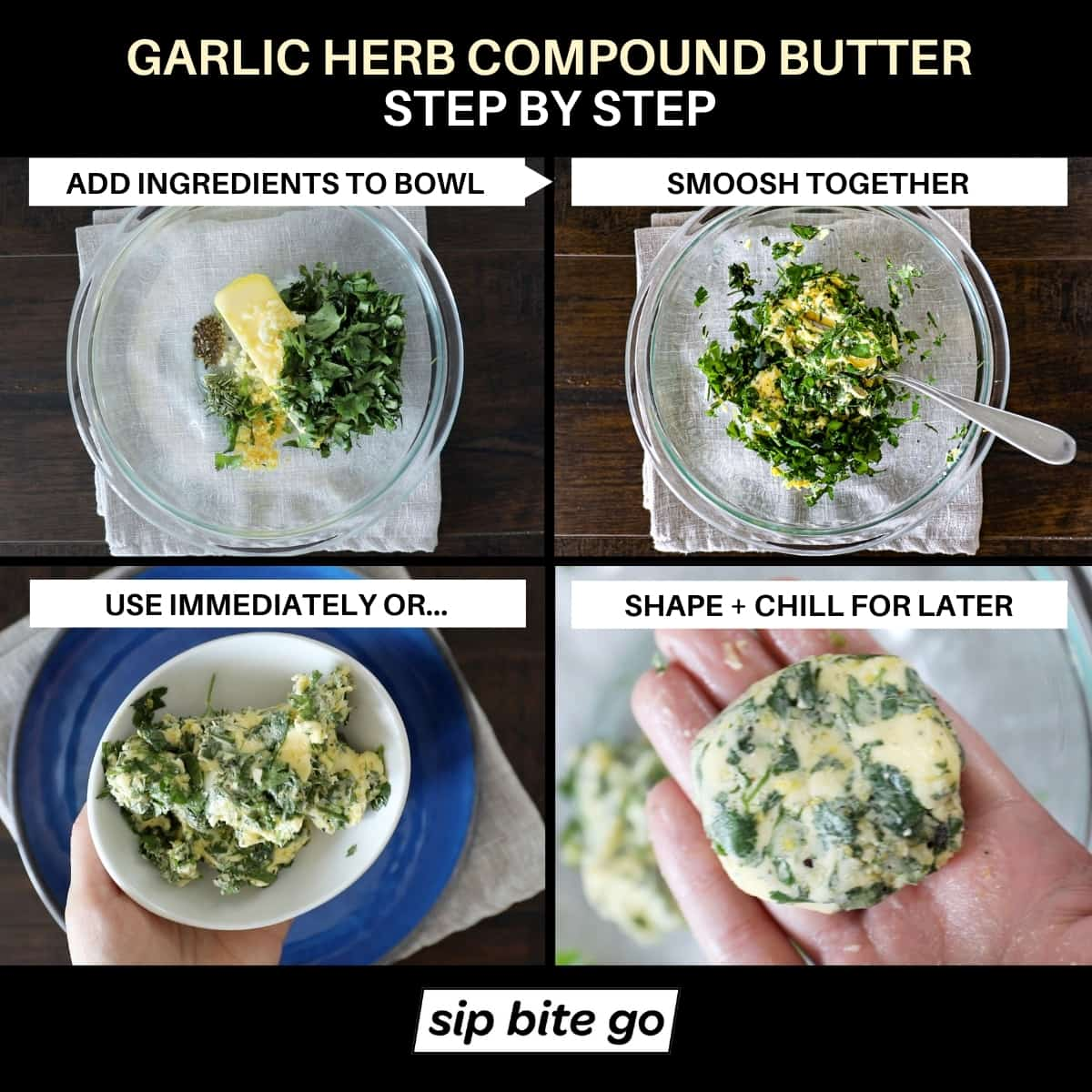 Infographic chart with text captions and images demonstrating step by step how to mix ingredients for garlic herb compound butter and serve it immediately or shape butter into a log for later.