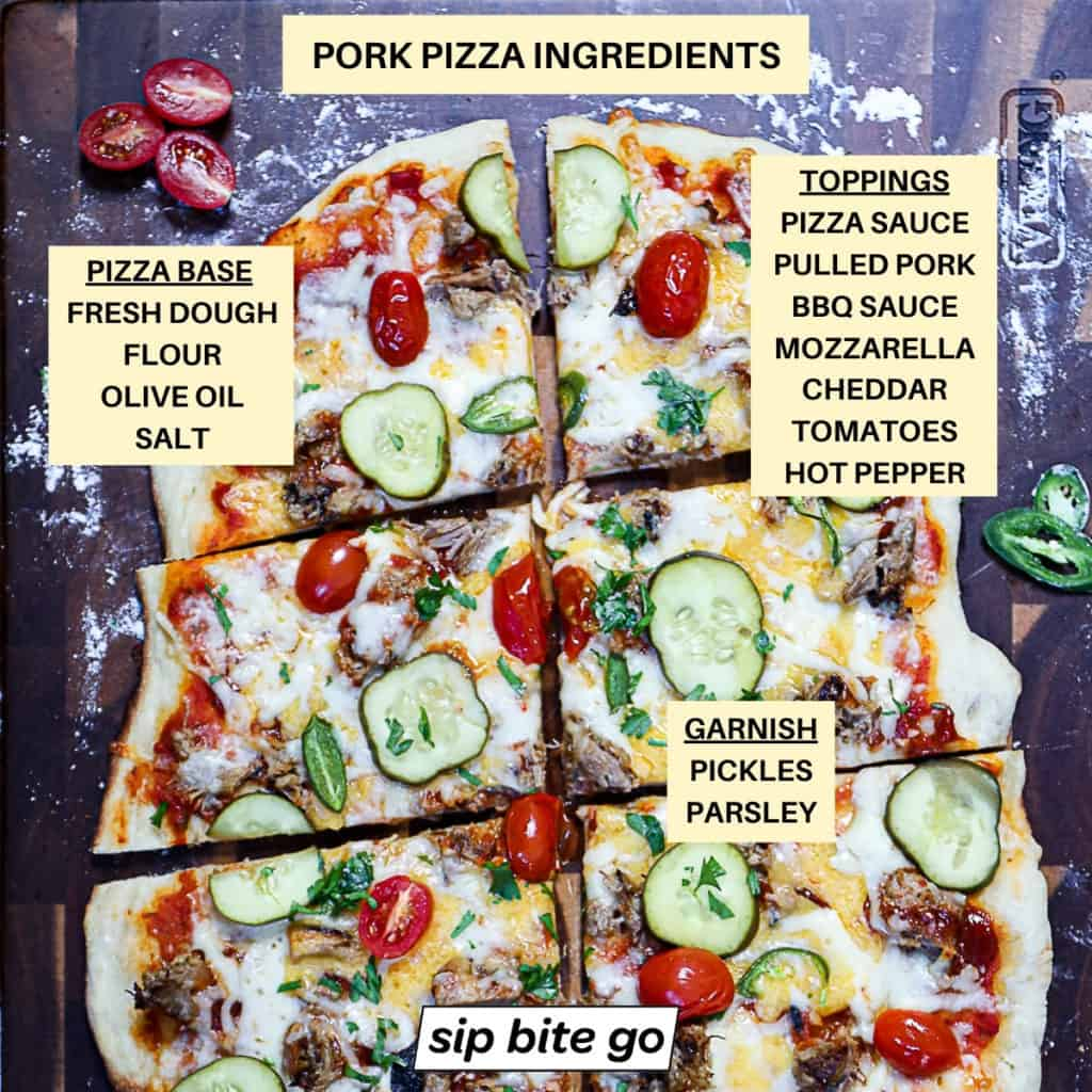 Top down shot of pizza with Ingredients list for Pork Pizza Recipe.