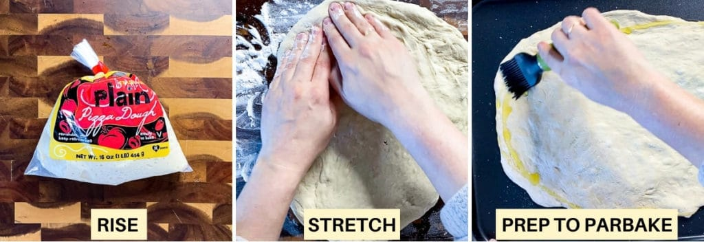 Collage demonstrating steps to make pizza including dough rising, stretching dough, and adding oil to pizza crust.