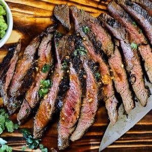 Top down shot of steak recipe.