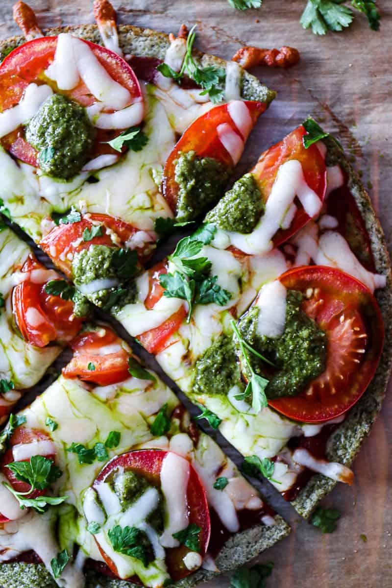 Closeup shot of keto friendly gluten free pizza.