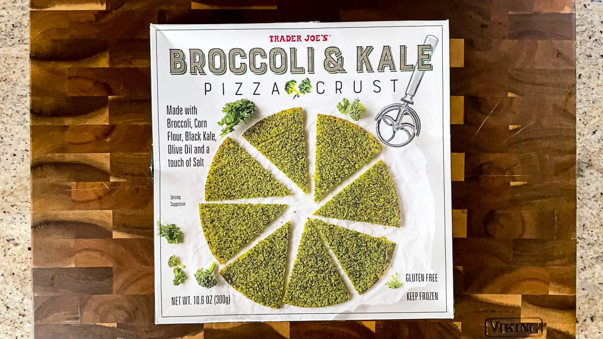 Top down shot of Trader Joe's Broccoli And Kale Pizza Crust box.