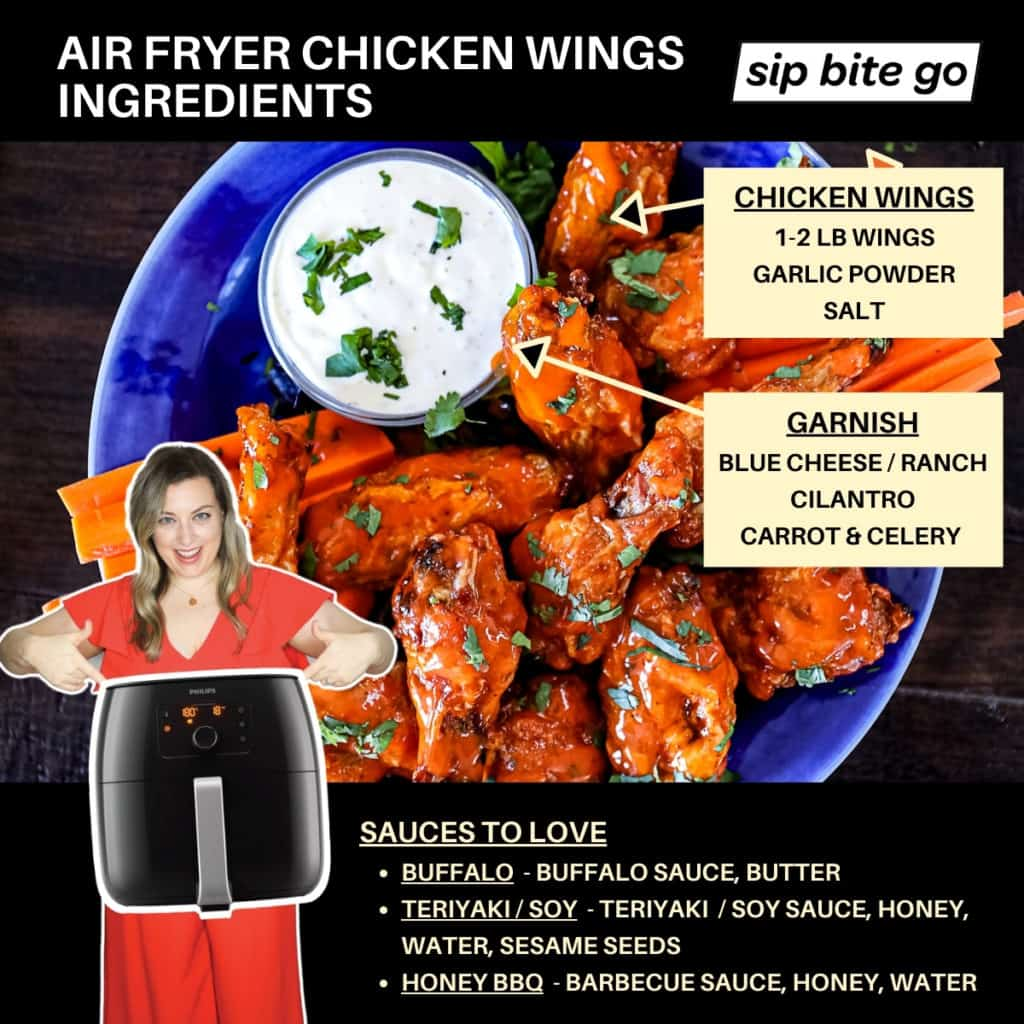 Chart with ingredients for hot wings air fried and finished with sauces.