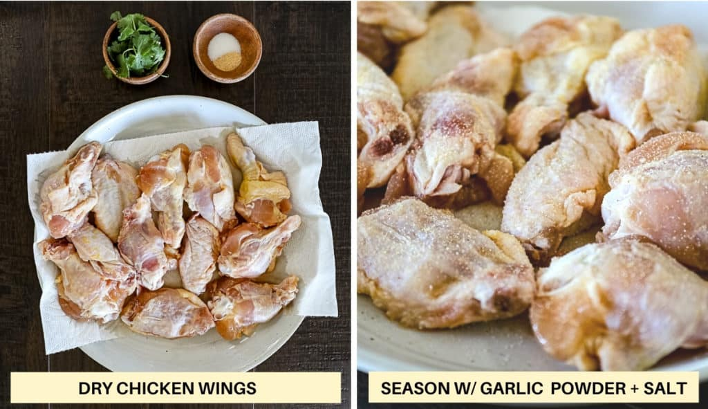 Image with text overlay demonstrating how to dry and season air fryer chicken wings.