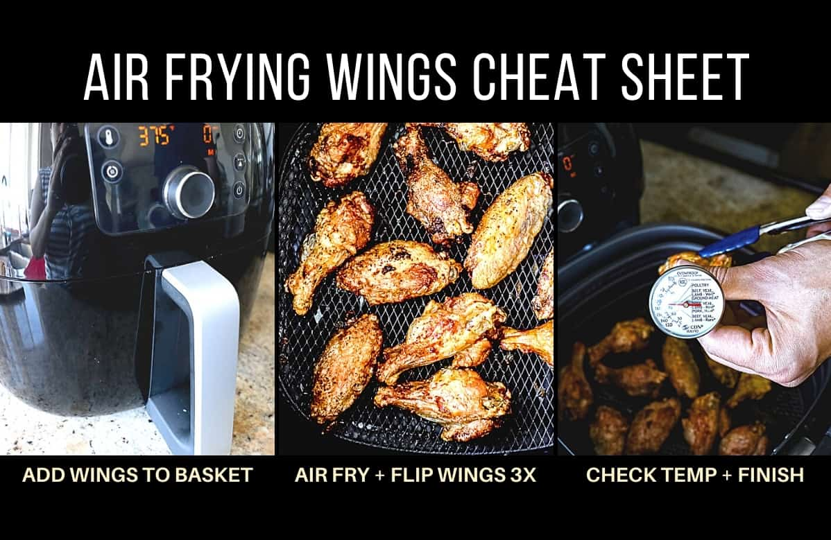 Air frying parmesan garlic chicken wings example step by step photo collage with captions.