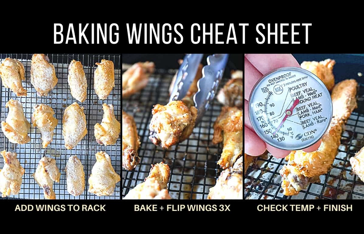 Baked parmesan garlic chicken wings example step by step photo collage with captions.