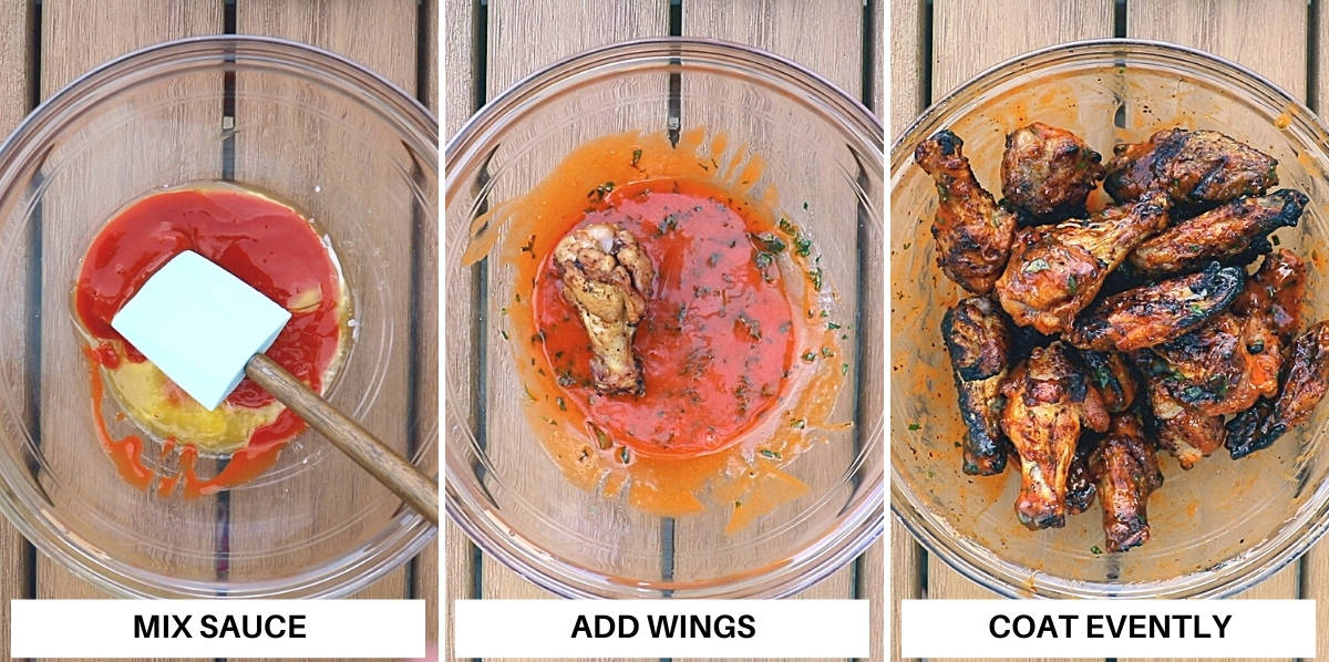 Steps to make grilled buffalo wings sauce.