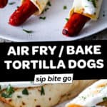 Image collage of baked hot dog taquitos in air fryer with text overlay.