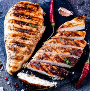 Cooked chicken breast.