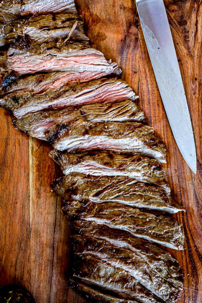 Top down shot demonstrating example of Skirt Steak grilled and cut against the grain.