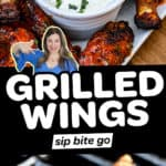 Photo collage with buffalo grilled wings recipe and text overlay.
