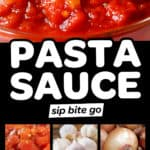 Collage of images of ingredients for homemade pasta sauce from scratch with text overlay and captions.