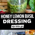 Text overlay with photos of Lemon Basil Dressing Salad Vinaigrette Recipe and ingredients.