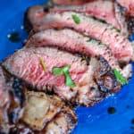 Closeup of medium rare pink coulotte steak recipe.