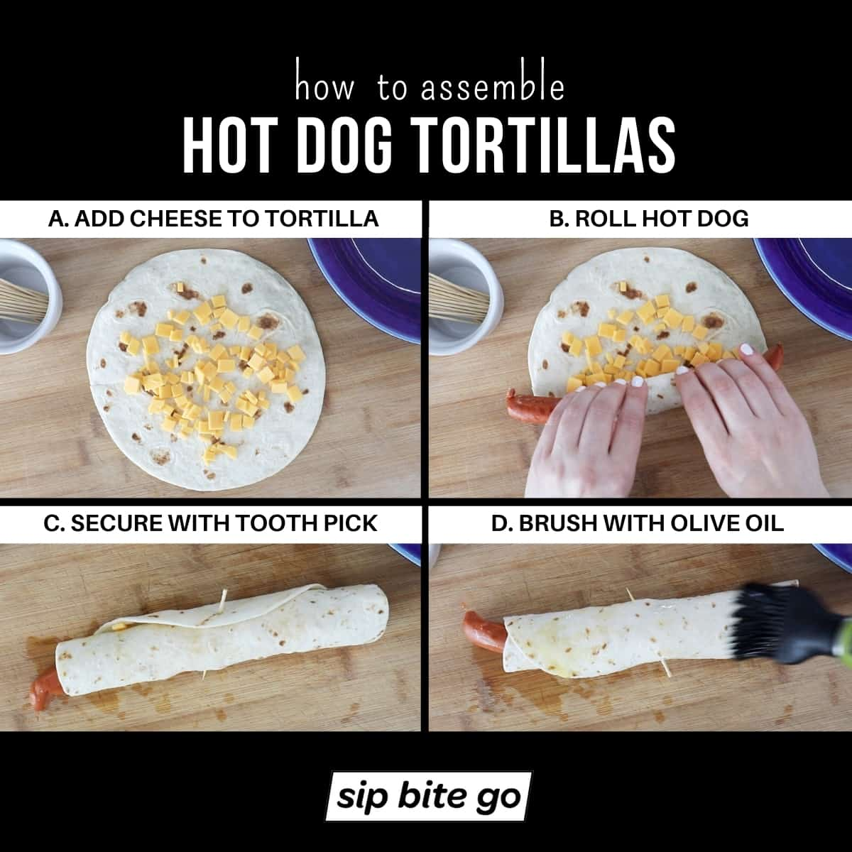 Infographic chart demonstrating how to assemble hot dog tortillas with cheese and flour tortillas.