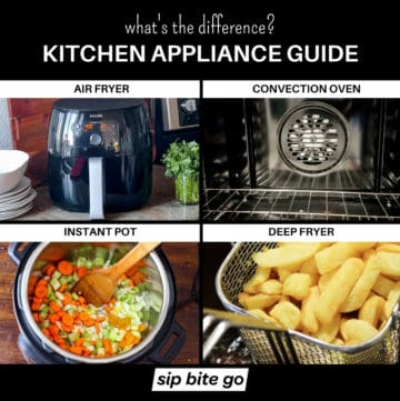 Infographic chart demonstrating the difference between Air Fryer vs Convection Oven vs Instant Pot vs Deep Fryer.
