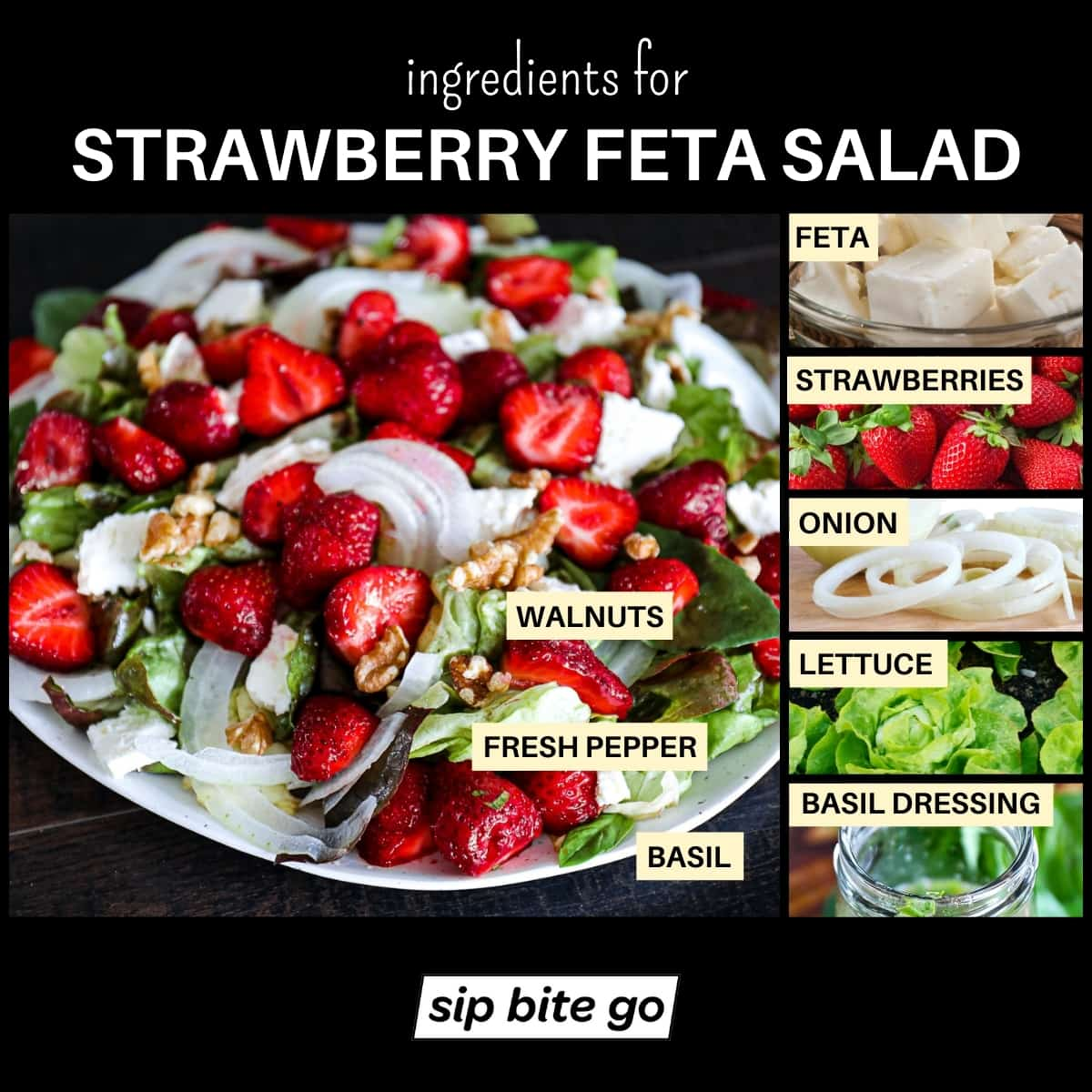 Infographic chart with ingredients for Strawberry Feta Salad With Walnuts and Basil Dressing.