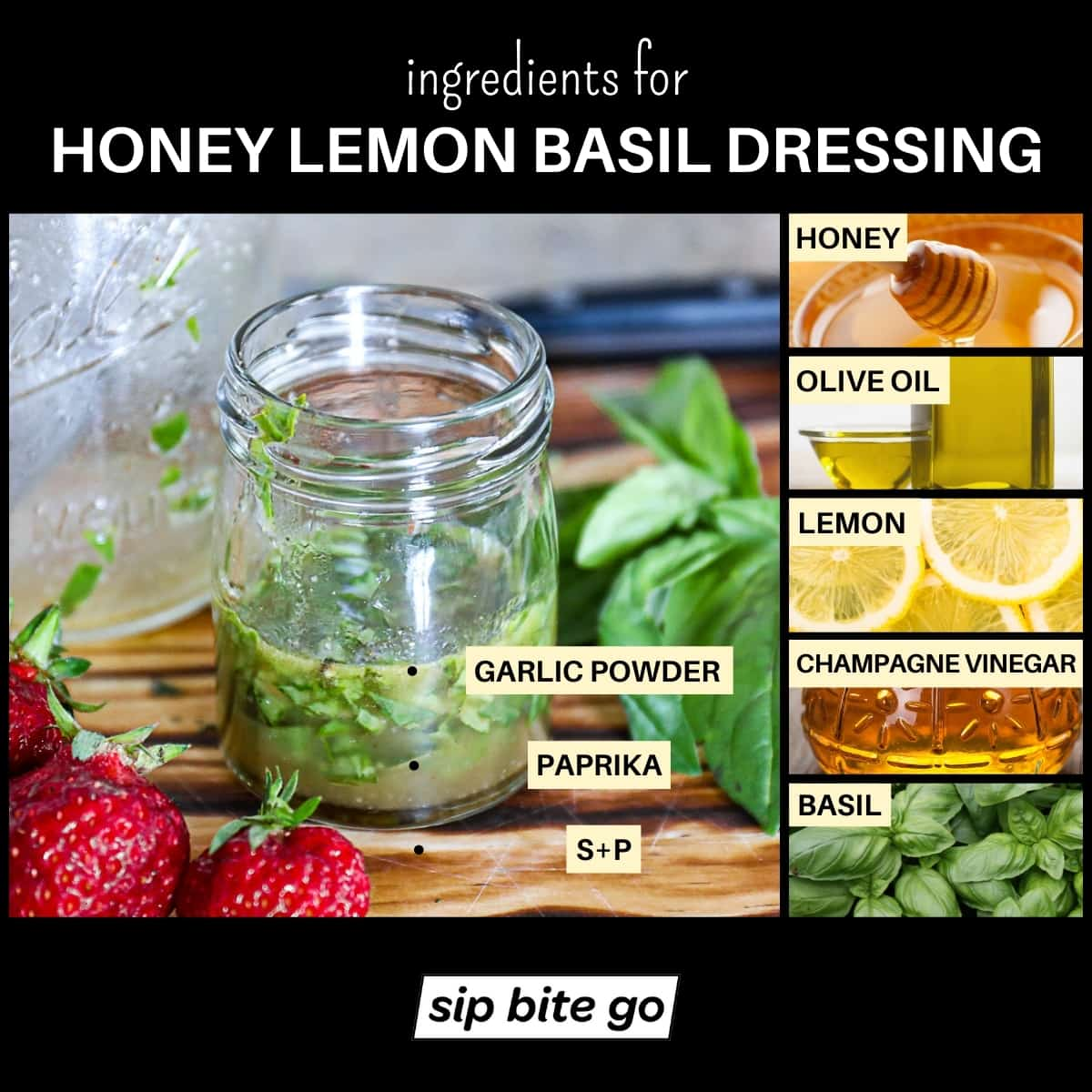Infographic chart with ingredients list for honey lemon basil dressing with olive oil.