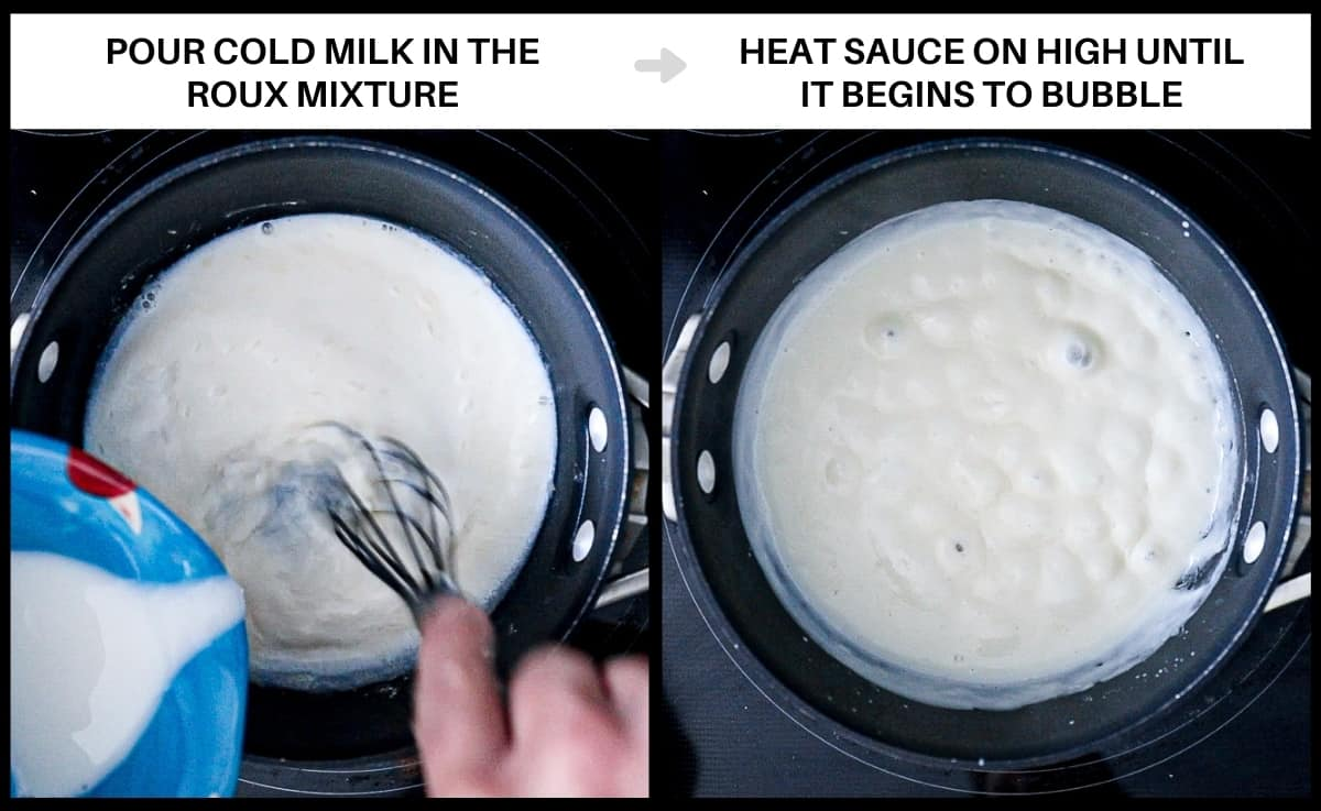 Infographic demonstrating steps to adding cold milk to white pizza sauce roux.
