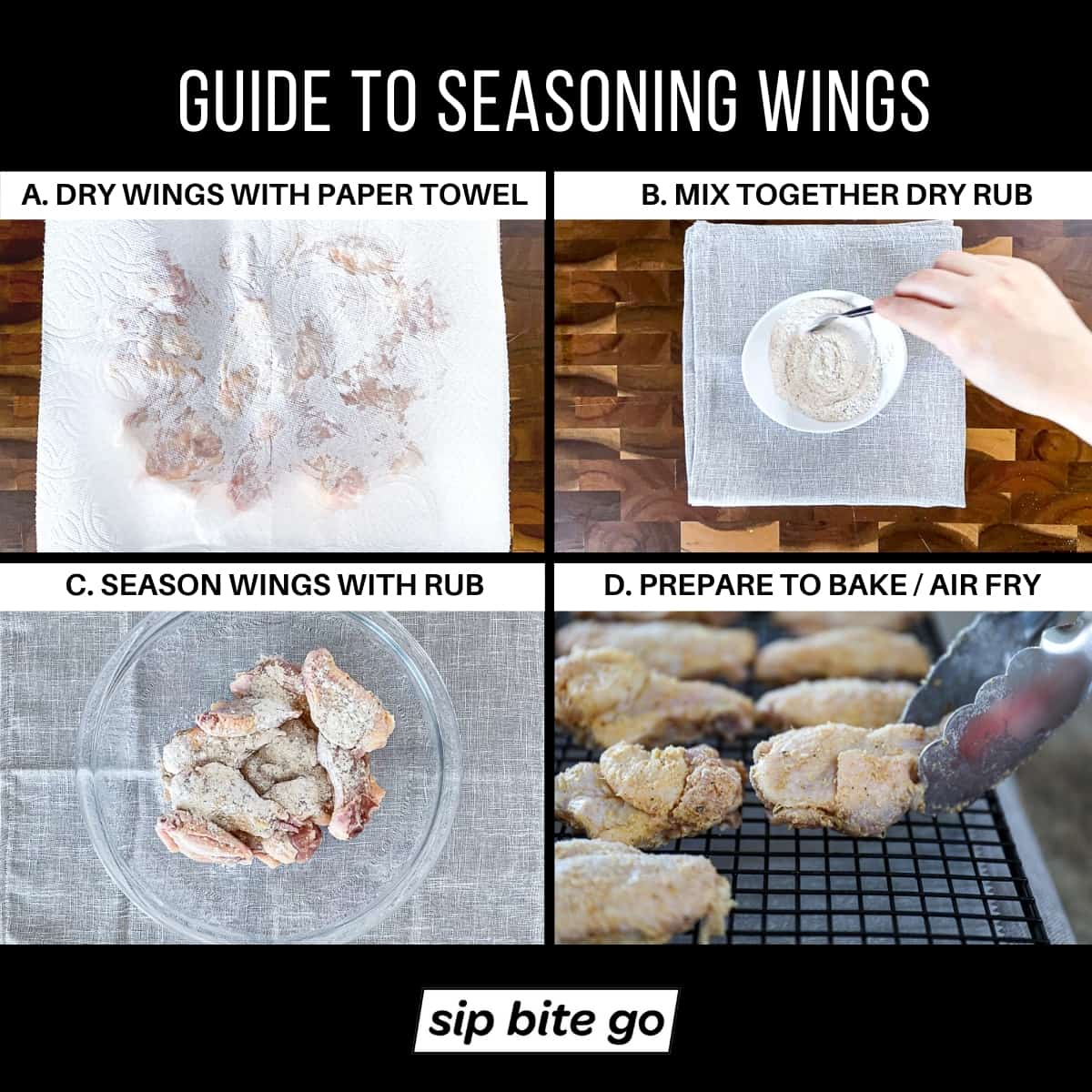 Infographic with photos and captions demonstrating How to season garlic parmesan wings with dry rub Sip Bite Go