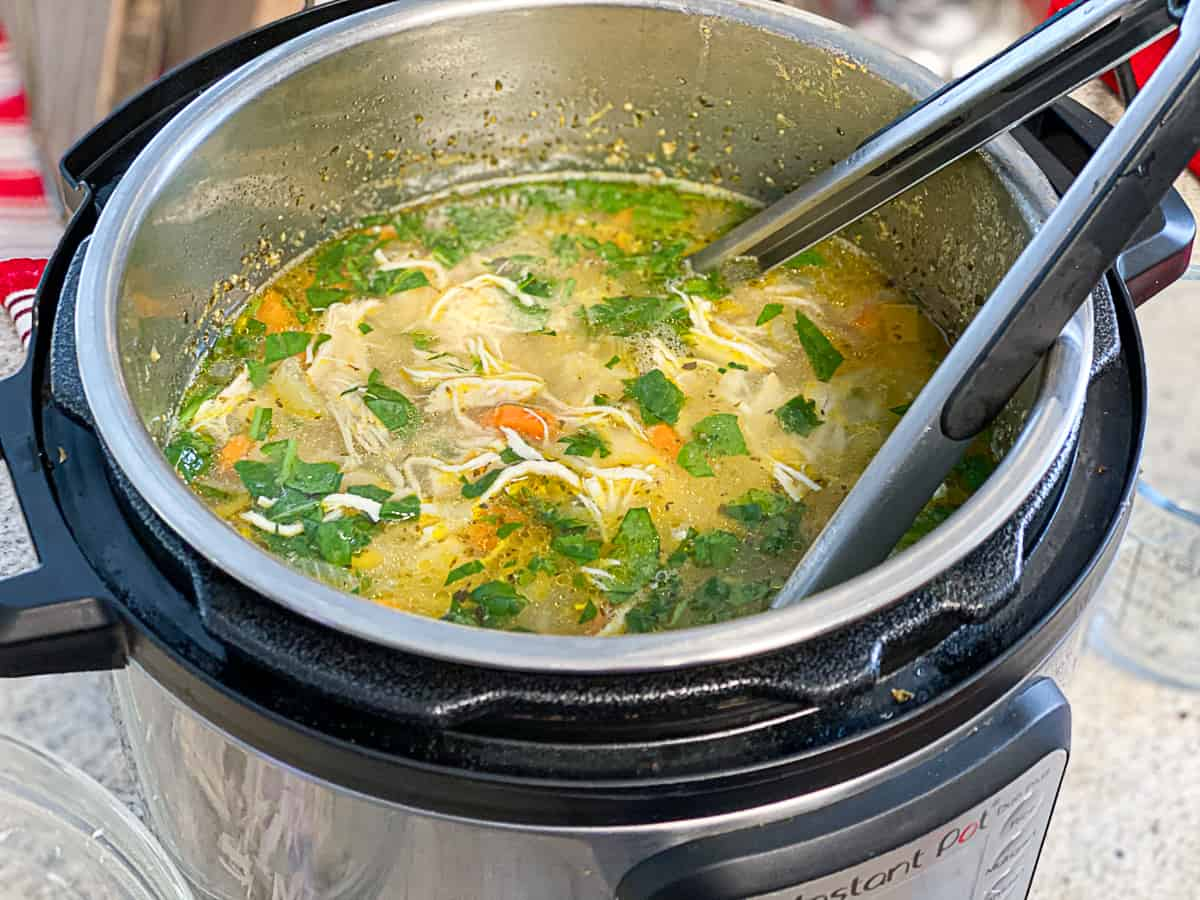 Side shot of Instant Pot kitchen appliance cooking chicken soup.