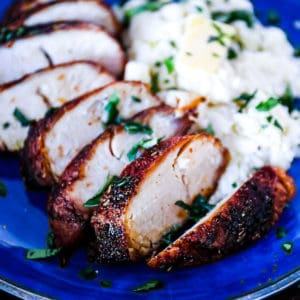 Juicy tender Air Fryer Turkey Breast with dry rub seasoning with thanksgiving side mashed potatoes.