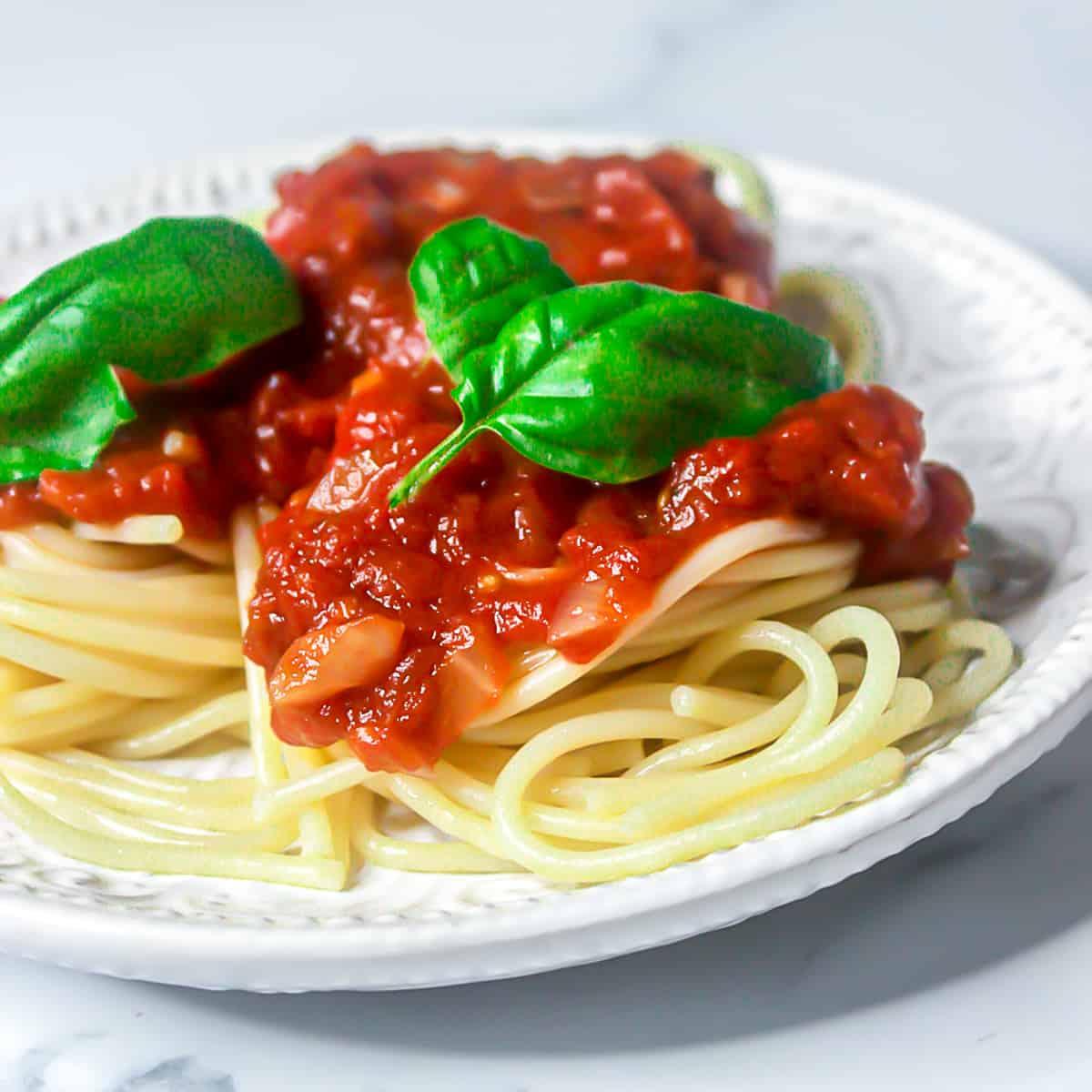 Fresh homemade pasta sauce on spaghetti with basil.