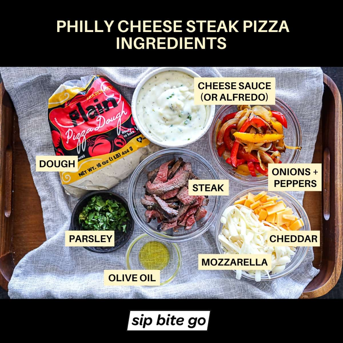 Top down shot of Philly Cheesesteak Pizza Ingredients Graphic with chart.