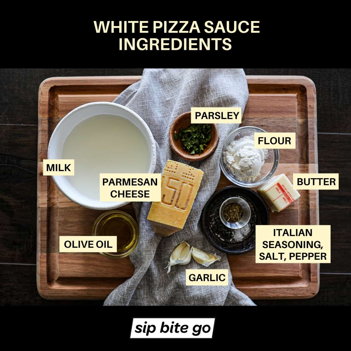 Philly Cheese Steak Pizza Sauce Ingredients Graphic with chart.