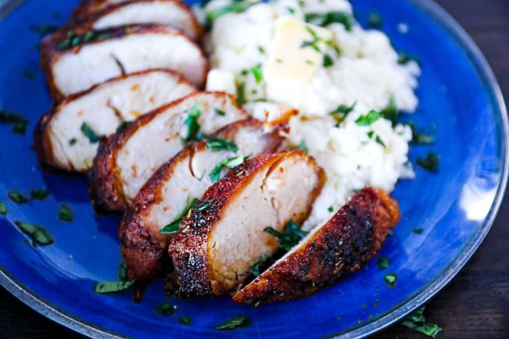 Roasted boneless skinless turkey breast in the air fryer.