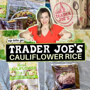 Trader Joe's Cauliflower Rice Photos collage with text overlay.