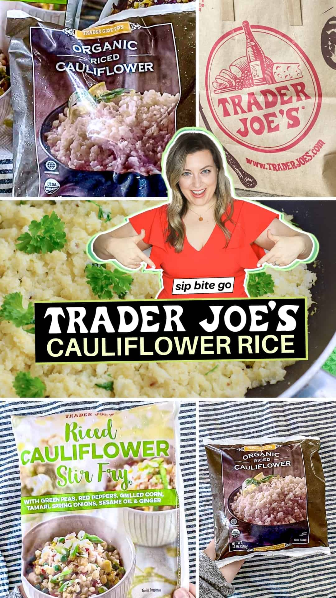 Trader Joe's Cauliflower Rice Review Photo collage with bags of cauliflower rice products from Trader Joe's and text overlay.