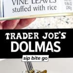 Image collage of Trader Joe's dolmas in a can.