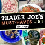 Collage with text overlay of Trader Joe's MUST HAVES Shopping List items including cheese, beef, and cauliflower rice.
