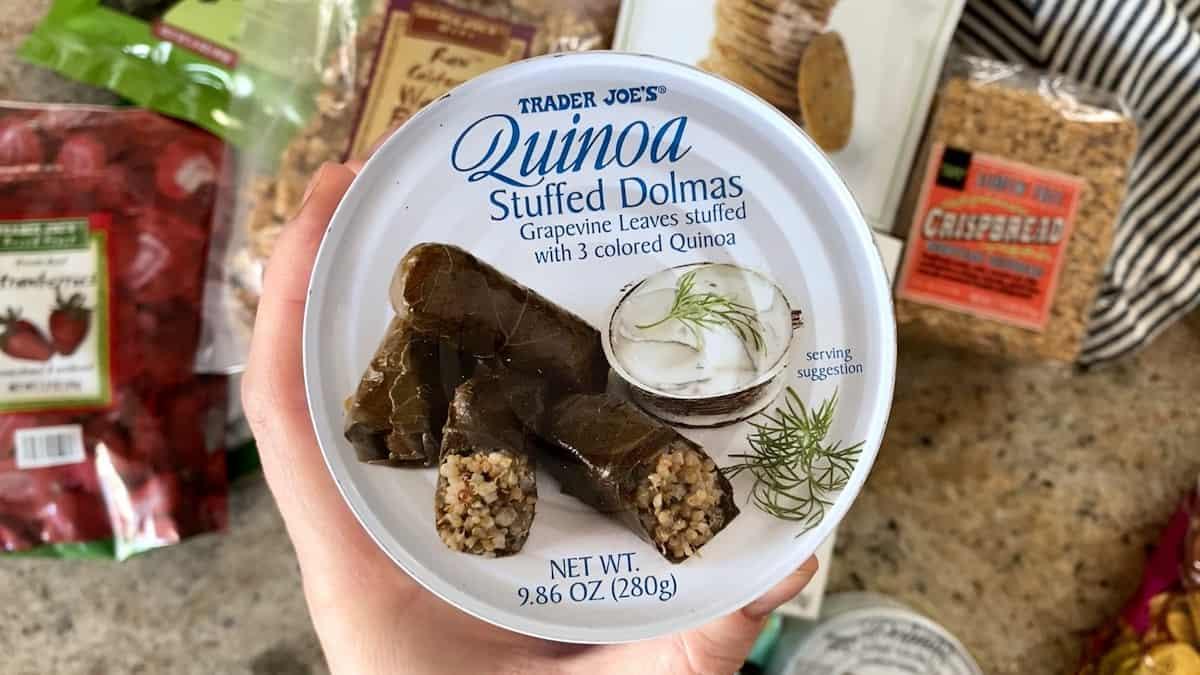 Top down shot of Trader Joe's Quinoa Stuffed Dolmas Can.