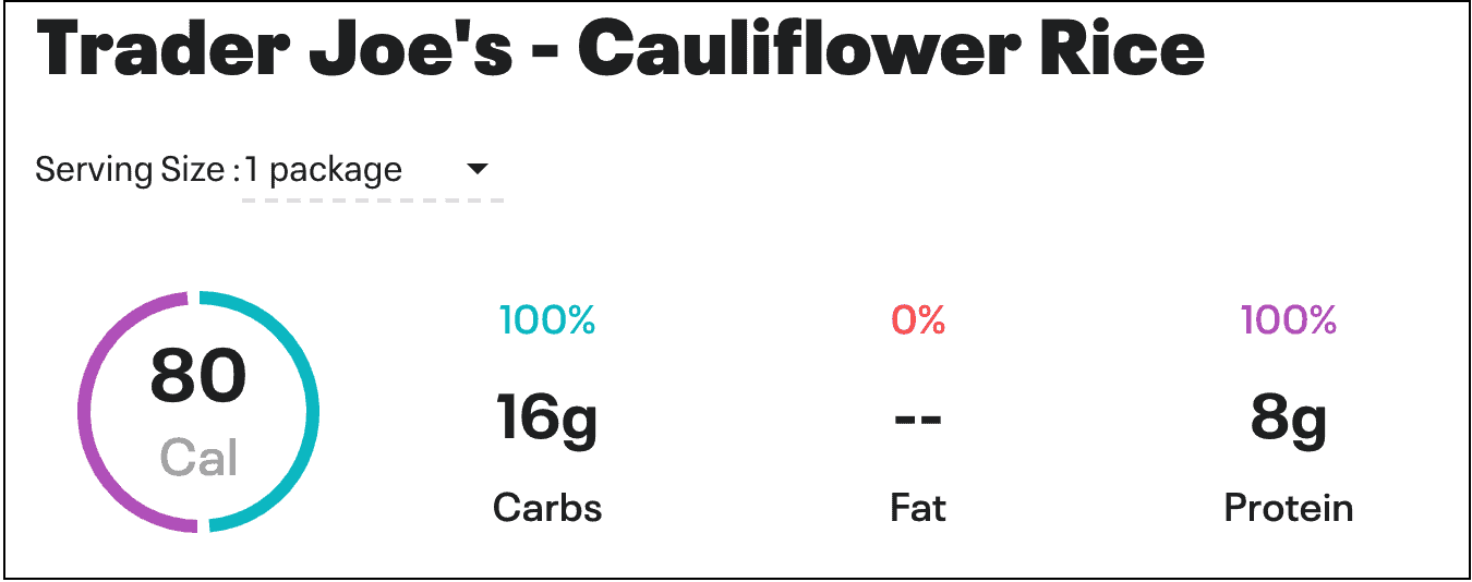 Chart with Trader Joe's cauliflower rice nutrition Information from My Fitness Pal.