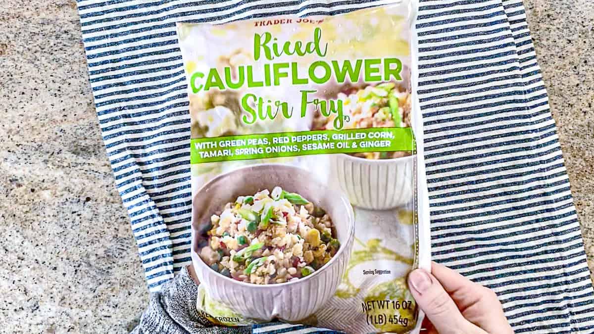 Trader Joe's riced cauliflower stir fry frozen in bag.
