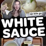 Image collage for white pizza sauce recipe with text overlay and ingredients chart.